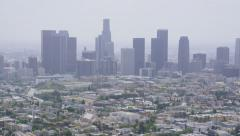 Aerial view of Los Angeles City Skyline - stock footage