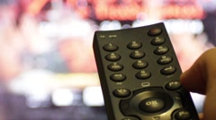 TV Remote Close view Switching Channels Stock Footage