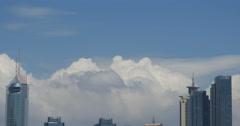 4k Altocumulus clouds sky over CBD building high-rise& skyscraper at urban city. Stock Footage