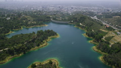 Aerial view of reservoir in California Stock Footage