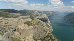 Preacher Pulpit Rock at Lysefjord distant view Stock Footage