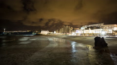 4k biarritz france timelapse city surfers sea Stock Footage