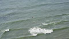Aerial view of Californian Surfers Stock Footage