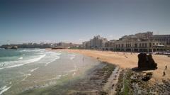 4k biarritz france timelapse city surfers sea Stock Footage