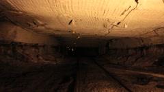 Passing Through an Underground Coal Mine Stock Footage
