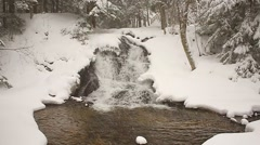 Waterfall surrounded by snow and ice Stock Footage