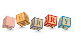 Word merry written with alphabet blocks Stock Illustration