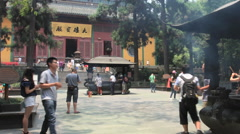 Lingyin Temple time lapse 1 30 fps zoom out Stock Footage
