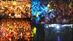 Multi screen music crowd fans audience  concert dj festival multi screen Stock Footage