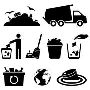 Stock Illustration of garbage, trash and waste icons