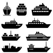 Ship and boat icons Stock Illustration