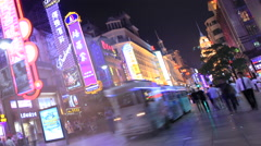 Shanghai Nanjing Road neon crowd time lapse night 2 30 fps zoom out kant Stock Footage