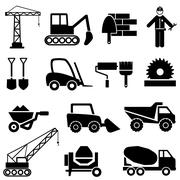 construction and industrial machinery icons - stock illustration