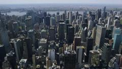 Aerial view of New York City from helicopter - stock footage