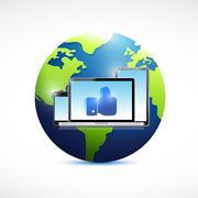like electronics and globe illustration design - stock illustration