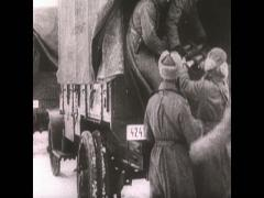 WW1 Ru Soldiers Unload Trucks - stock footage