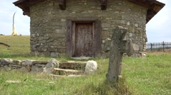 Ancient stone church near Orastie 4K Stock Footage
