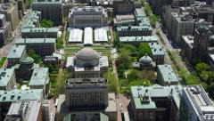 Aerial view of Low Memorial Library New York Stock Footage