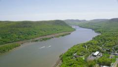 Aerial view of Hudson River New York City State Stock Footage