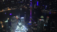 Shanghai night view from 110 floors 2 30 fps zoom out Stock Footage