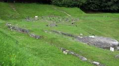 Sarmizegetusa Regia, first ancient Dacian capital fortress ruins, pan 4K Stock Footage