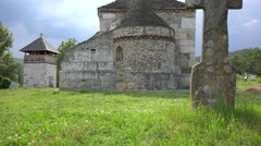 Ancient stone church in Densus, Romania Stock Footage