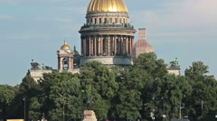 Camera zoom out from Saint Isaac Cathedral to Neva river with pleasure boats - stock footage