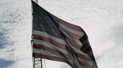 American flag close in the breeze on a crane Stock Footage