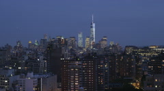 NYC_skyline_south_freedom_tower_night Stock Footage
