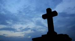 Cross with sky,panning,timelapse Stock Footage