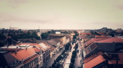 Panorama View Of The small City Above in vojvodina ,serbia Stock Footage