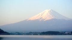 Mount Fuji above Lake Kawaguchi Stock Footage