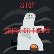 Stop trick or treat - horrified specter - stock illustration