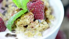 raspberry yogurt (loopable video) - stock footage
