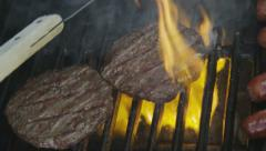 Burger Flipping on the Grill Stock Footage