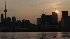 Toronto city silhouette (sunset shot) Stock Footage