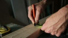 Marking measurements on wood Stock Footage