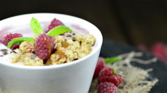 Stock Video Footage of raspberry yogurt (loopable video)