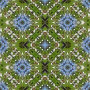 Kaleidoscopic bee on flower seamless generated texture - stock illustration