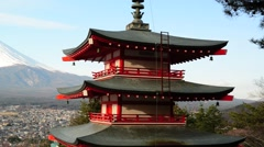 View of Mount Fuji from Chureito Pagoda Stock Footage