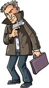 Cartoon agent with gun and suitcase Stock Illustration