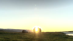 Talking with friends after a day of fishing in Iceland. Stock Footage