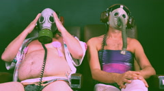 Gas mask men poison strange fetish 4k Stock Footage