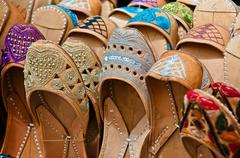 Moroccan slippers in a market Stock Photos