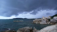 Stock Video Footage of Rocky Shore before Storm. Slow Motion.