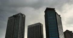 4k Altocumulus clouds over CBD building high-rise&skyscraper at urban city. Arkistovideo