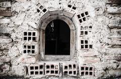 old brick window - stock photo