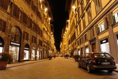 Night street in downtown florence italy Stock Photos