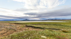 Stock Video Footage of Clouds roar over the icelandic landscape