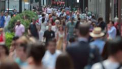 Crowd of people walking on city street sidewalk 4k Stock Footage